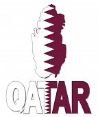 stock photo of qatar  - Qatar map flag and text vector illustration  - JPG