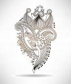 line art ornate flower design, ukrainian ethnic style, paisley h