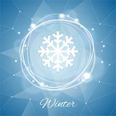 Winter Poster with Snowflake on Geometric Background