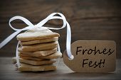 Ginger Breads With Label With Frohes Fest