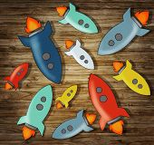 Group of Colorful Rocketship Symbols