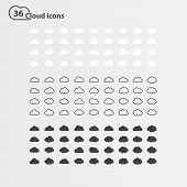 Постер, плакат: PrintBig vector set of thirty six cloud shape