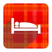hotel red flat icon isolated