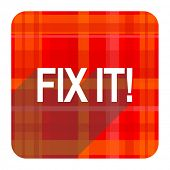 fix it red flat icon isolated