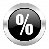 percent black circle glossy chrome icon isolated