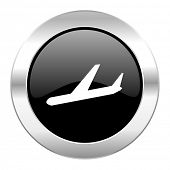 arrivals black circle glossy chrome icon isolated
