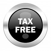 tax free black circle glossy chrome icon isolated