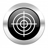 target black circle glossy chrome icon isolated