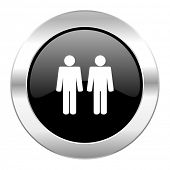 couple black circle glossy chrome icon isolated