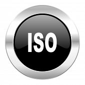 iso black circle glossy chrome icon isolated