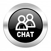 chat black circle glossy chrome icon isolated
