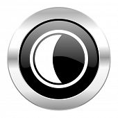 moon black circle glossy chrome icon isolated