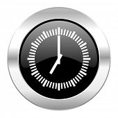 time black circle glossy chrome icon isolated