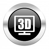 3d display black circle glossy chrome icon isolated