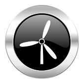 windmill black circle glossy chrome icon isolated