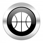 ball black circle glossy chrome icon isolated