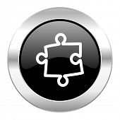 puzzle black circle glossy chrome icon isolated