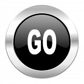 go black circle glossy chrome icon isolated