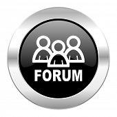forum black circle glossy chrome icon isolated