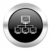 network black circle glossy chrome icon isolated