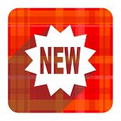 new red flat icon isolated