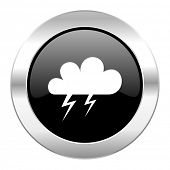 storm black circle glossy chrome icon isolated