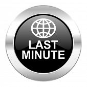 last minute black circle glossy chrome icon isolated