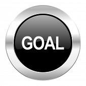 goal black circle glossy chrome icon isolated