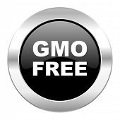 gmo free black circle glossy chrome icon isolated