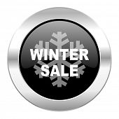 winter sale black circle glossy chrome icon isolated
