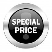 special price black circle glossy chrome icon isolated