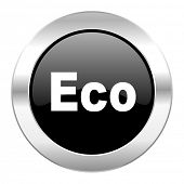 eco black circle glossy chrome icon isolated