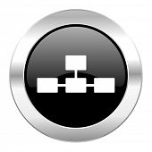 database black circle glossy chrome icon isolated