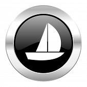 yacht black circle glossy chrome icon isolated