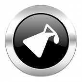 chemistry black circle glossy chrome icon isolated