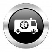 ambulance black circle glossy chrome icon isolated