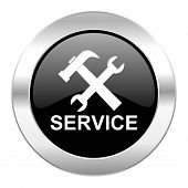 service black circle glossy chrome icon isolated