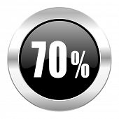 70 percent black circle glossy chrome icon isolated