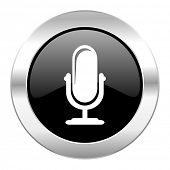 microphone black circle glossy chrome icon isolated