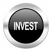 invest black circle glossy chrome icon isolated