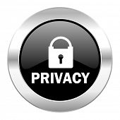privacy black circle glossy chrome icon isolated