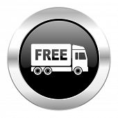 free delivery black circle glossy chrome icon isolated