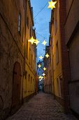 Narrow street in old center of Riga, Latvia