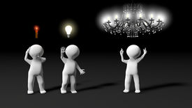 foto of cognitive  - During a brainstorming session metaphor showing several ideas - JPG