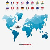 image of flags world  - Vector illustration of world map with markers and circle national flags for your design - JPG