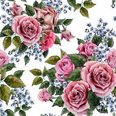 picture of purple rose  - Seamless floral pattern with red purple and pink roses on light background watercolor - JPG
