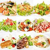 stock photo of caesar salad  - Various salads collage including warm salads mix salads vegetable salad greek salad and caesar salads - JPG