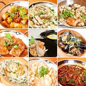foto of stew  - Various stew and ragout collage including vegetable ragout veal chicken salmon pork rib stew rabbit and chicken ragout and mussels stewed in white wine - JPG