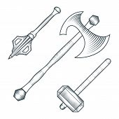 image of mace  - vector black color medieval axe warhammer mace engraving style illustration set white background - JPG