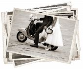 image of grayscale  - Vintage photos with Young newlywed just married posing on an old gray scooter - JPG